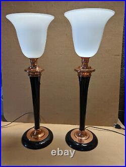 Lampe PAIRE DE 2 lampes art déco MAZDA LAQUE NOIRE ET CUIVRE bois massif en très
