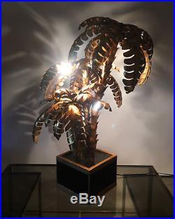 Lampe Palmier Triple En Metal Style Jansen Des Année 70 De 105 CM De Haut