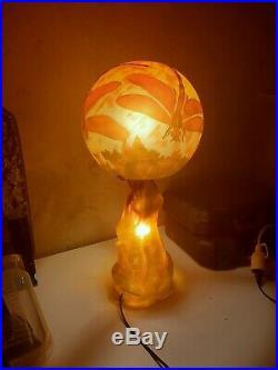 Lampe Pate De verre, Style Gallé, Art Nouveau Art Deco