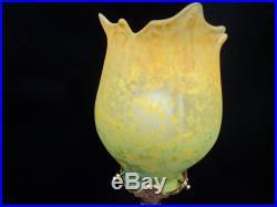 Lampe Pied Bronze Tulipe Daum Pate De Verre Art Deco/nouveau Era Muller Galle