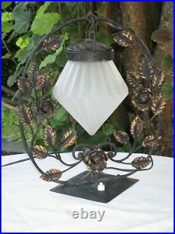 Lampe Pied En Fer Forgé Globe Forme Diamant Art Déco