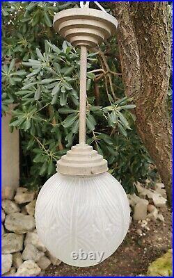 Lampe Plafonnier Suspension Vintage Tulipe Obus Art Déco Verre Pressé 1930
