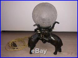 Lampe Sculpture Ancienne Régule Noir Art Deco 1930 Elephant Antique Animal Rare