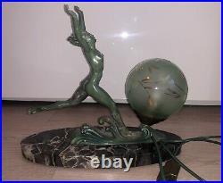 Lampe Sculpture Art Deco Ancien 1930 Régule Bleu Emeraude Antique Femme Nue
