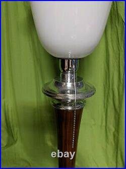 Lampe TRES BELLE lampe art déco MAZDA NOYER CLAIR ET ALU CHROME bois massif en t