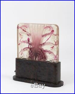 Lampe Veilleuse Algues Blanche Rose Fer Forgé Argy Rousseau Night Lamp Iron Base
