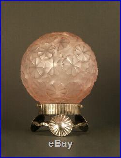 Lampe Veilleuse Art Déco Hortensia Rose Verre Moulé-pressé Et Fer Forgé