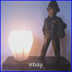Lampe Veilleuse Art Deco Marbre Et Regule Signe Domange-pierrot A La Mandoline
