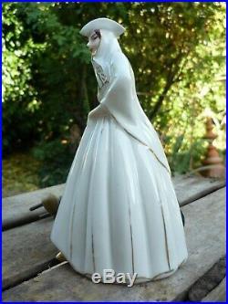 Lampe Veilleuse Art Deco Porcelaine Aladin France Paris Marquise A L' Evantail