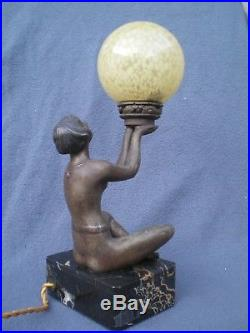 Lampe art deco 1920 LIMOUSIN statue femme vintage lamp woman figurine sculpture