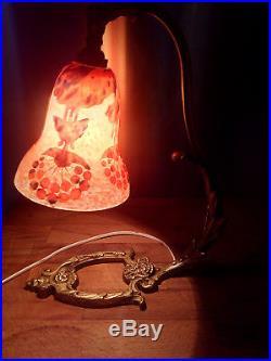 Lampe art deco 1920 schneider pate de verre pied bronze doré gallé muller