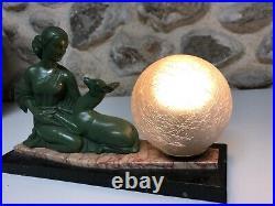 Lampe art deco 1930 femme régule patine bronze sur socle marbre Signe Balleste R