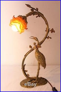Lampe art déco bronze héron tulipe pâte de verre