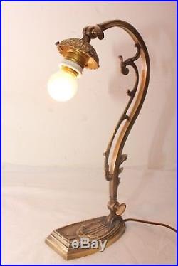 Lampe art déco bronze pour tulipe pâte de verre daum muller schneider lustre