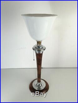 Lampe art déco signée MAZDA de bureau noyer et alu tulipe et abat jour