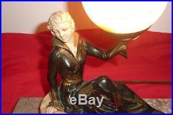 Lampe chevet en régule marbre femme art déco statue NO PREISS CHIPARUS LORENZL