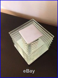 Lampe chromée, verre et métal chromé Design Art Deco Desny Moderniste