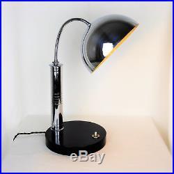 Lampe de bureau, Art-Déco 1930 métal chromé Bauhaus no Adnet