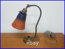 Lampe de bureau Art Deco en bronze et pâte de verre muller schneider degue