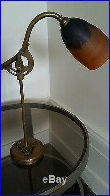 Lampe de bureau, art nouveau -art déco, 1900 -pâte de verre, Daum Nancy -bronze