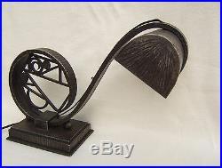 Lampe de bureau fer forgé art déco cubiste BRANDT KATONA KISS signé a definir