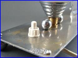 Lampe de chevet vintage métal chromé ART DECO tulipe verre opaline Décor Oiseau