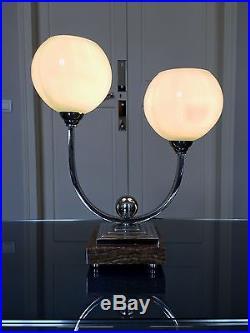 Lampe de table Art Déco Moderne Chrome Onyx Opaline
