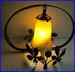 Lampe de table Art Nouveau, déco marronnier, tulipe pâte de verre Muller Degué