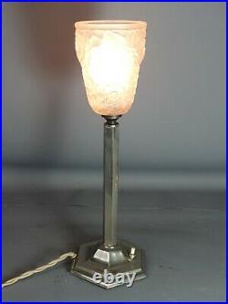Lampe de table Art déco colonne métal & verre pressé moulé signé H37 cm SB