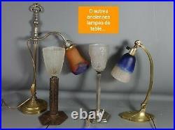 Lampe de table Art déco verre pressé moulé & marbre 24 cm SB