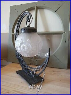 Lampe de table art déco globe veilleuse fer forgé