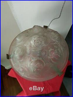 Lampe de table verre moulé signée Verdun pied bronze époque Muller-Schneider