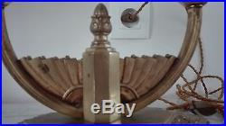 Lampe double art deco Muller pate de verre et bronze Degué Noverdy Schneider