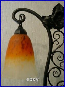 Lampe double art deco fer forgé pâte de verre Schneider 1925-1930