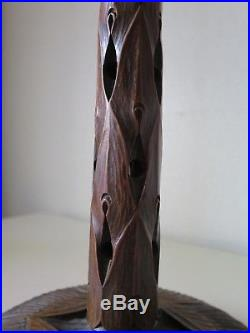 Lampe en bois sculpté Ecole de Nancy Art Nouveau Louis Majorelle, Daum, lamp