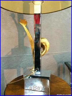 Lampe en bronze argenté et doré décorde coq. Années 1950/70