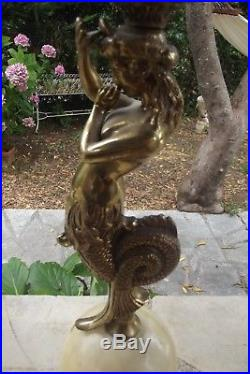 Lampe en régule Femme sirène monture en marbre onyx art déco lamp figurine woman