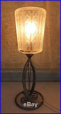 Lampe fer forgé et pâte de verre art déco Vincent France