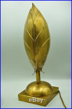 Lampe feuille en laiton design année 80 dlg Tommaso Barbi style art déco