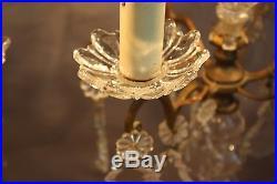 Lampe (la paire) girandoles candélabres en bronze et cristal 3 lumières