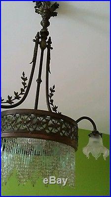 Lampe -lustre -plafonnier de billard -vintage -années 1900 1930 -art déco -rétro