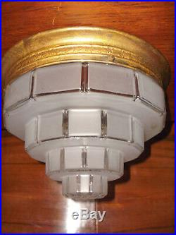 Lampe plafonnier ancien rond skyscraper Art Déco