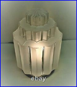 Lampe plafonnier verre Building skyskraper bronze nickelé Art Déco 1930