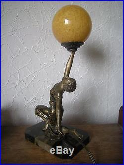 Lampe sculpture art deco 1930 MOLINS statuette femme antique woman statue lamp
