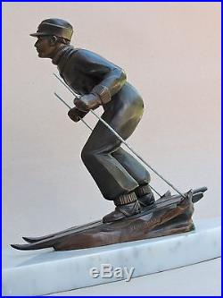 Lampe sculpture art déco skieur marbre régule patine bronze signé L. BRUNSWICK