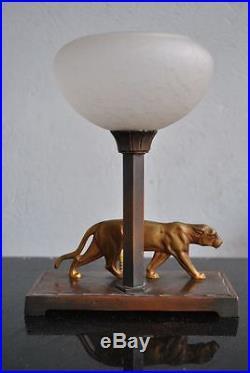 Lampe veilleuse Art déco 1930 à la panthère Schneider