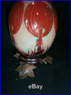 Lampe (veilleuse) Le verre Français aux coprins époque art déco
