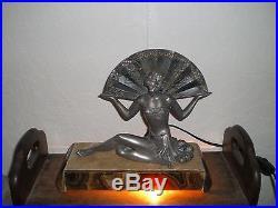 Lampe veilleuse art deco 1920/30 femme danseuse antique statue lamp woman dancer