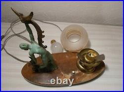 Lampe veilleuse art deco 1950 sculpture femme nue statuette style max le verrier