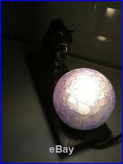 Lampe veilleuse art déco animalier Panthère globe craquelé bleu